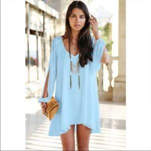 Light blue LULU slit sleeve shifting small dress